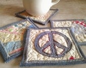 Vintage Quilt Coaster with Upcycled Denim Set of 4