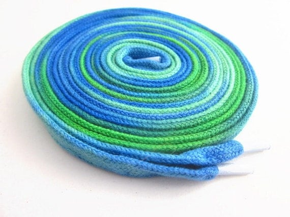 Hand Dyed High Top Shoe Laces (63 inch length) Land and Sea