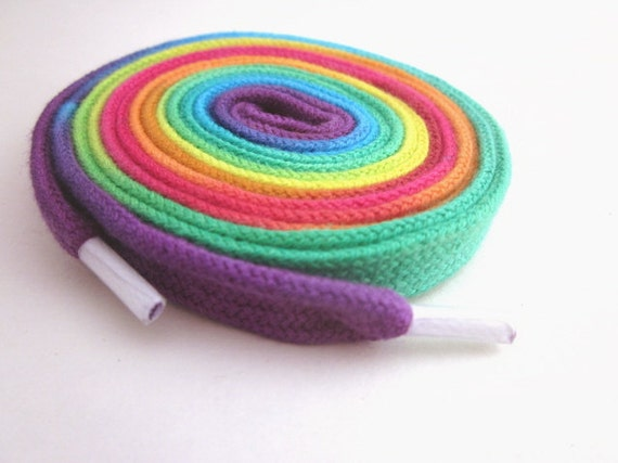 Hand Dyed Shoelaces (45 inch length) Rainbow