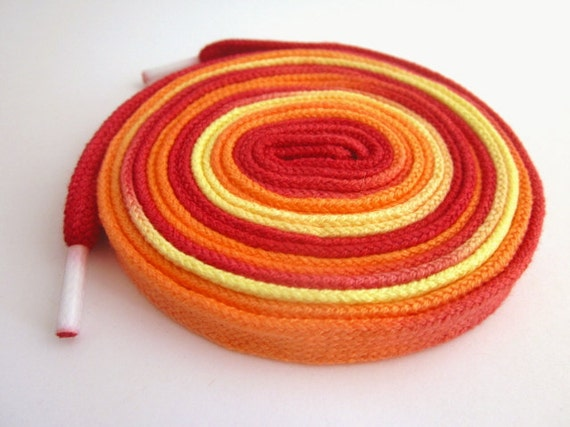 Hand Dyed Shoelaces (54 inch length) Hot Tamale