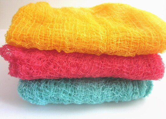 Hand Dyed Cheesecloth Set of 3 Summer Classics
