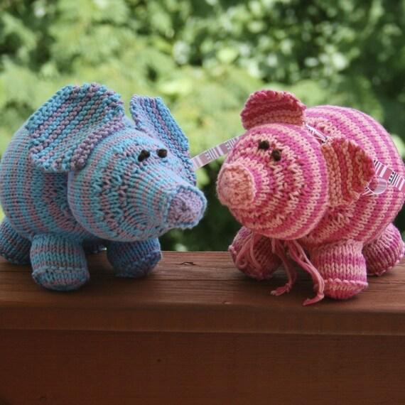 Elephant Pants Knitting Pattern : PDF Knitting Pattern Elephant and Pig