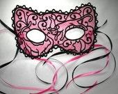 Beautiful Lace Machine Embroidery Mask - Witchy Kitties Adult  Size