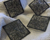 Christmas Holly Machine Embroidery Lace Coaster or Ornament Set