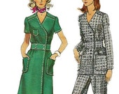 Vogue 8244 Vintage 70s Front Wrap Dress, Tunic and Pants Pattern Size 14 Bust 36