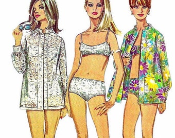 Simplicity 7645 1960s Misses Two Piece Bathing Suit and Shirt Pattern Womens Vintage Sewing Pattern Size 12 Bust 34 OR Size 8 Bust 31