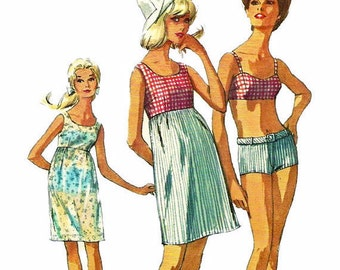 1960s  Simplicity 6545 Misses Empire Beach Shift and 2 Piece Belted Swimsuit Pattern Women's Vintage Sewing Pattern Size 10 Bust 31 Uncut