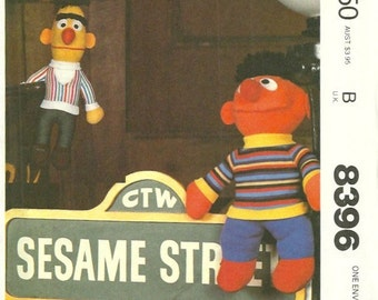 McCalls 8396 1980s Sesame Street Muppets Pattern Bert and Ernie Soft Toys Vintage Toy Sewing Pattern  UNCUT