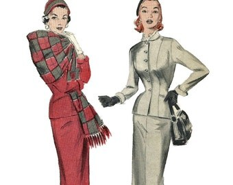 1950s Butterick 6648 Misses Figure Molding  Suit and Stole Pattern Womens Vintage Sewing Pattern Size 14 Bust 32