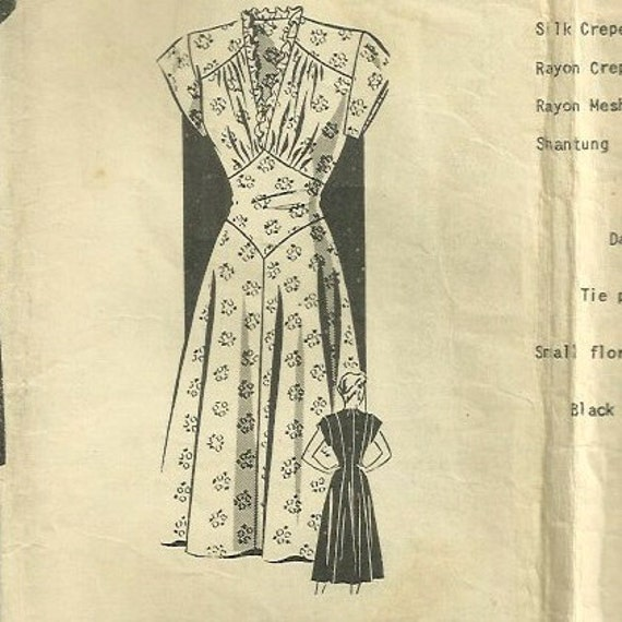 Vintage 40s Mail Order 1808 Shaped Midriff Dress Pattern Bust 36