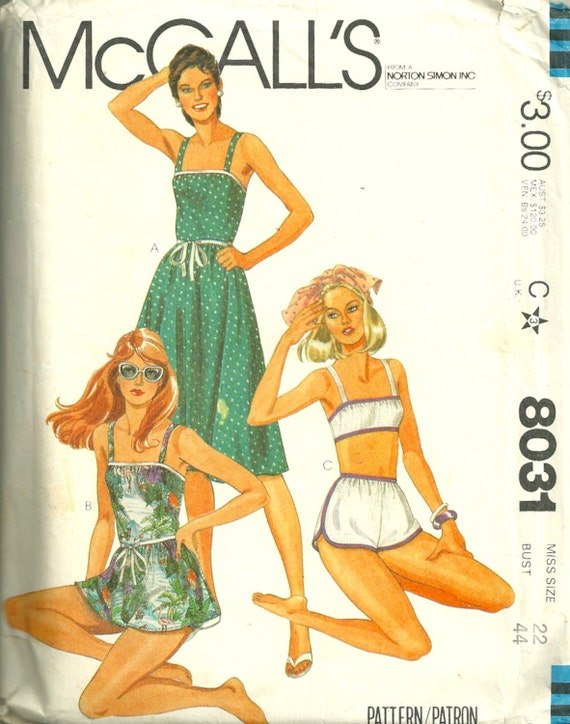 McCalls 8031 1980s Misses Sun Dress and Bathing Suit Pattern Womens Vintage Sewing Pattern  Size 22 Bust 44