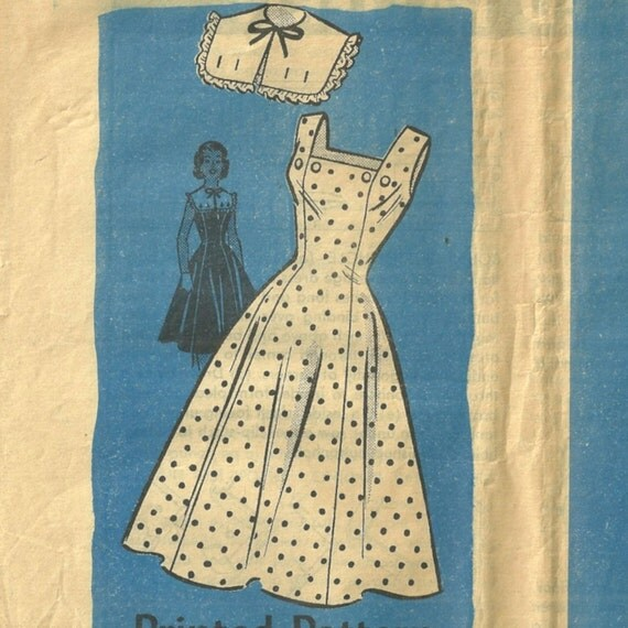 Vintage 50s Anne Adams  4632  Sundress Pattern with Collarette Size 14 Bust 34