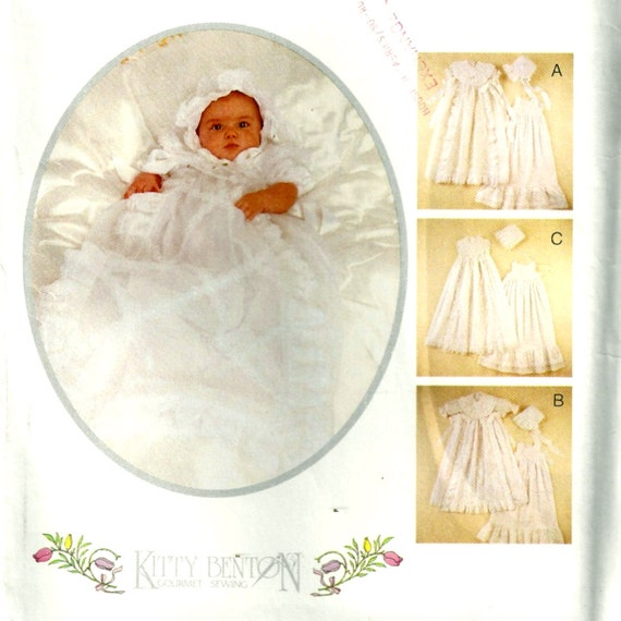 McCalls 7553 Kitty Benton Infants Christening Gown, Slip and Bonnet Pattern Uncut