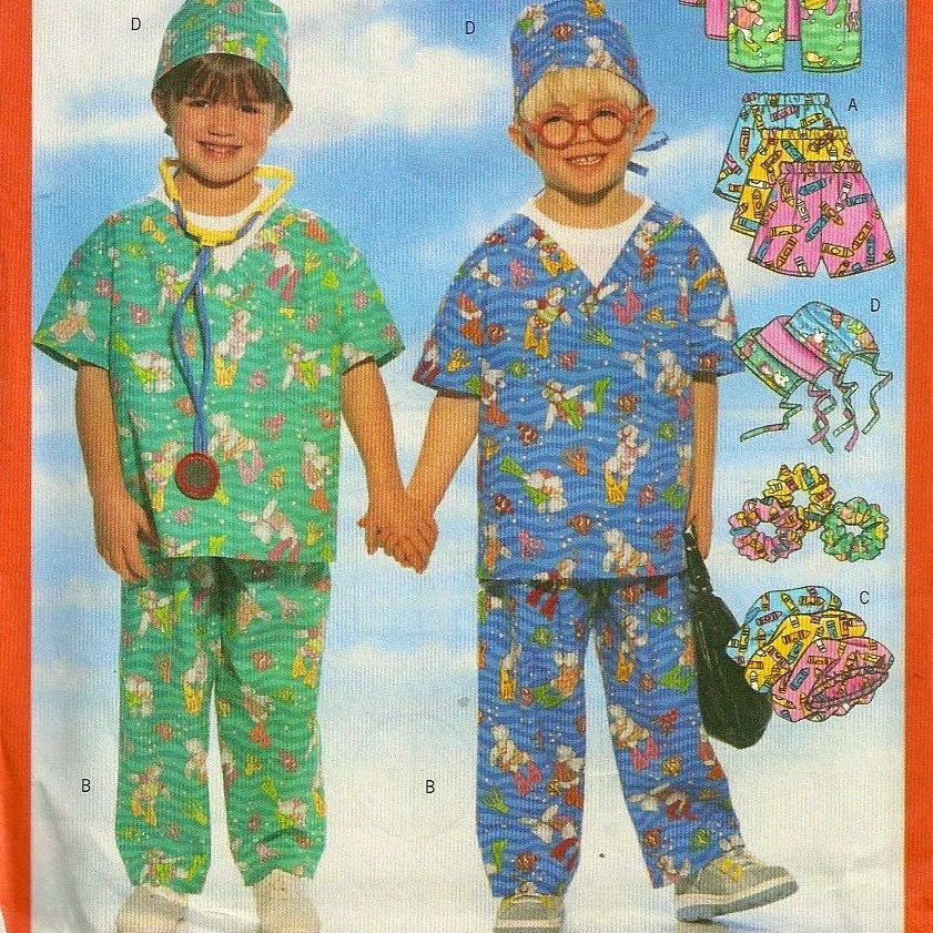 Butterick 5565 Kids Play Scrubs Top Shorts Pants And Hat