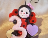 ladybug birthday cake topper Christmas ornament  polymer clay insect children gift