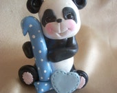 PANDA CAKE TOPPER: 1, 1st, first birthday panda bear birthday cake topper, blue, Christmas ornament polymer clay animal decoration