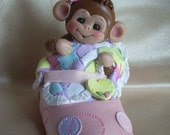 baby shower cake topper monkey shoe animal birthday clay