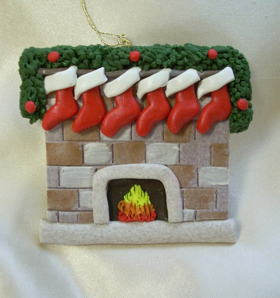 2010 polymer clay personalized family christmas ornament families fireplace ornament