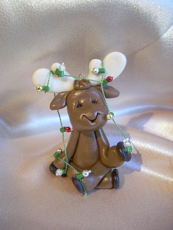Moose Reindeer Personalized Christmas Ornament Polymer By Clayqts