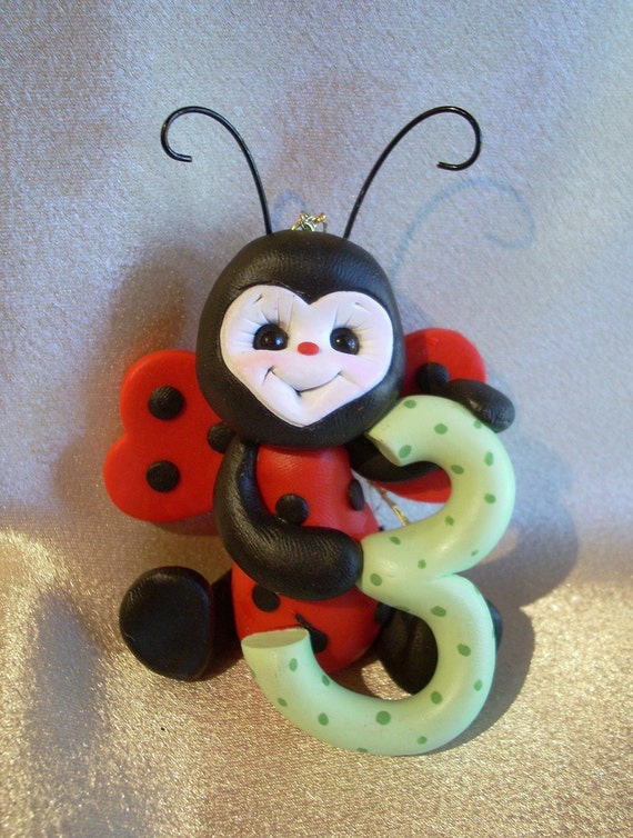 ladybug  third Christmas ornament  childrens 3rd birthday cake topper baby decoration personalized
