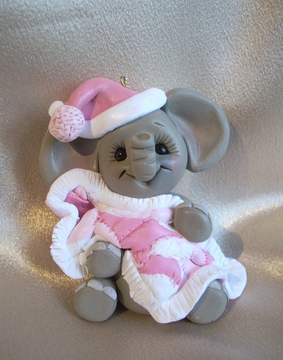 polymer clay elephant personalized Christmas ornament cake topper