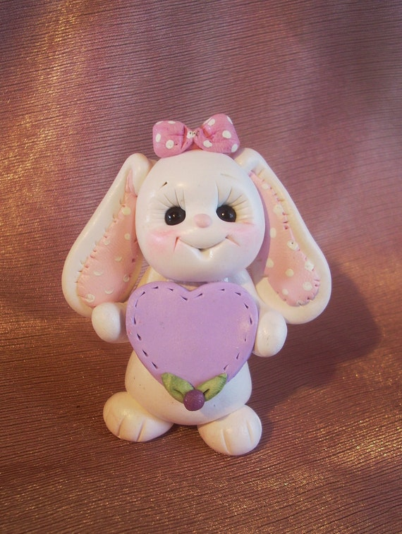 bunny rabbit birthday cake topper Christmas ornament  polymer clay personalized childrens gift animal pet