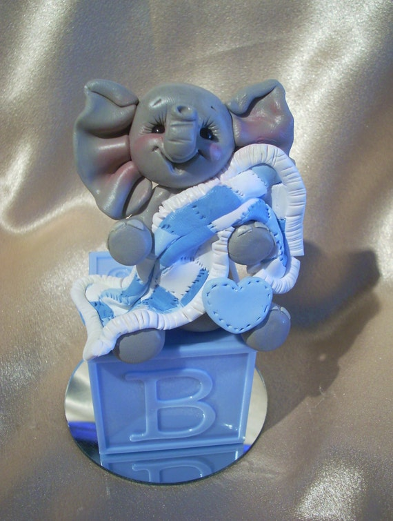 baby shower cake topper elephant polymer clay decoration gift animal personalized