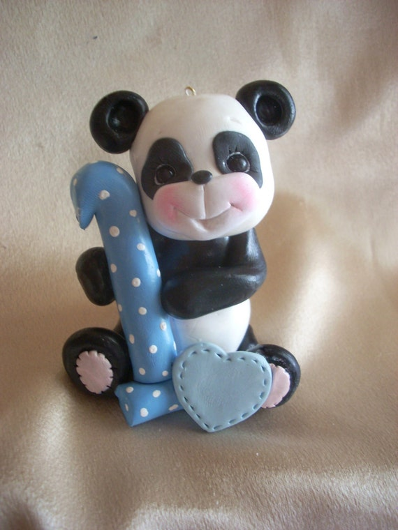 PANDA CAKE TOPPER 1 1st first birthday panda bear by clayqts