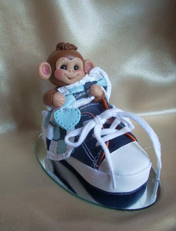 baby shower cake topper monkey shoe animal birthday clay