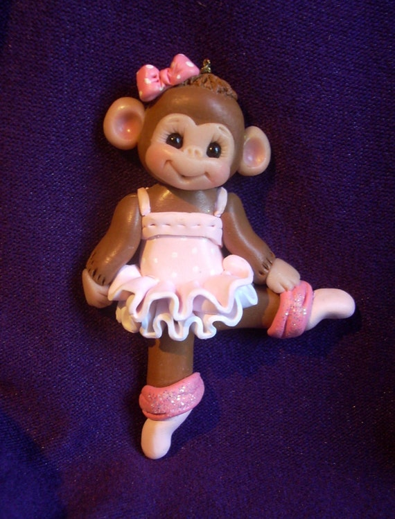 dancer ballerina monkey gift personalized Christmas ornament polymer clay dancing dance sculpture