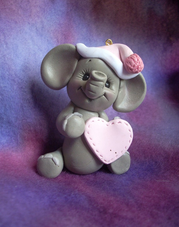 elephant Christmas ornament Cake Topper personalized polymer clay animal children