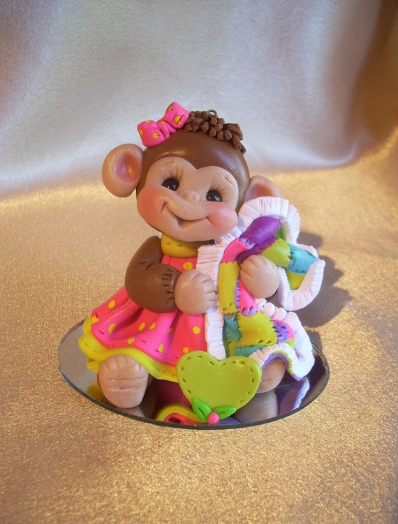 monkey cake topper Christmas ornament  polymer clay personalized childrens baby shower