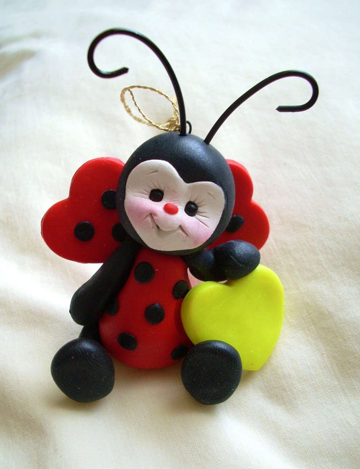 Ladybug Lady Bug Sculpture Figurine Gift Polymer Clay By