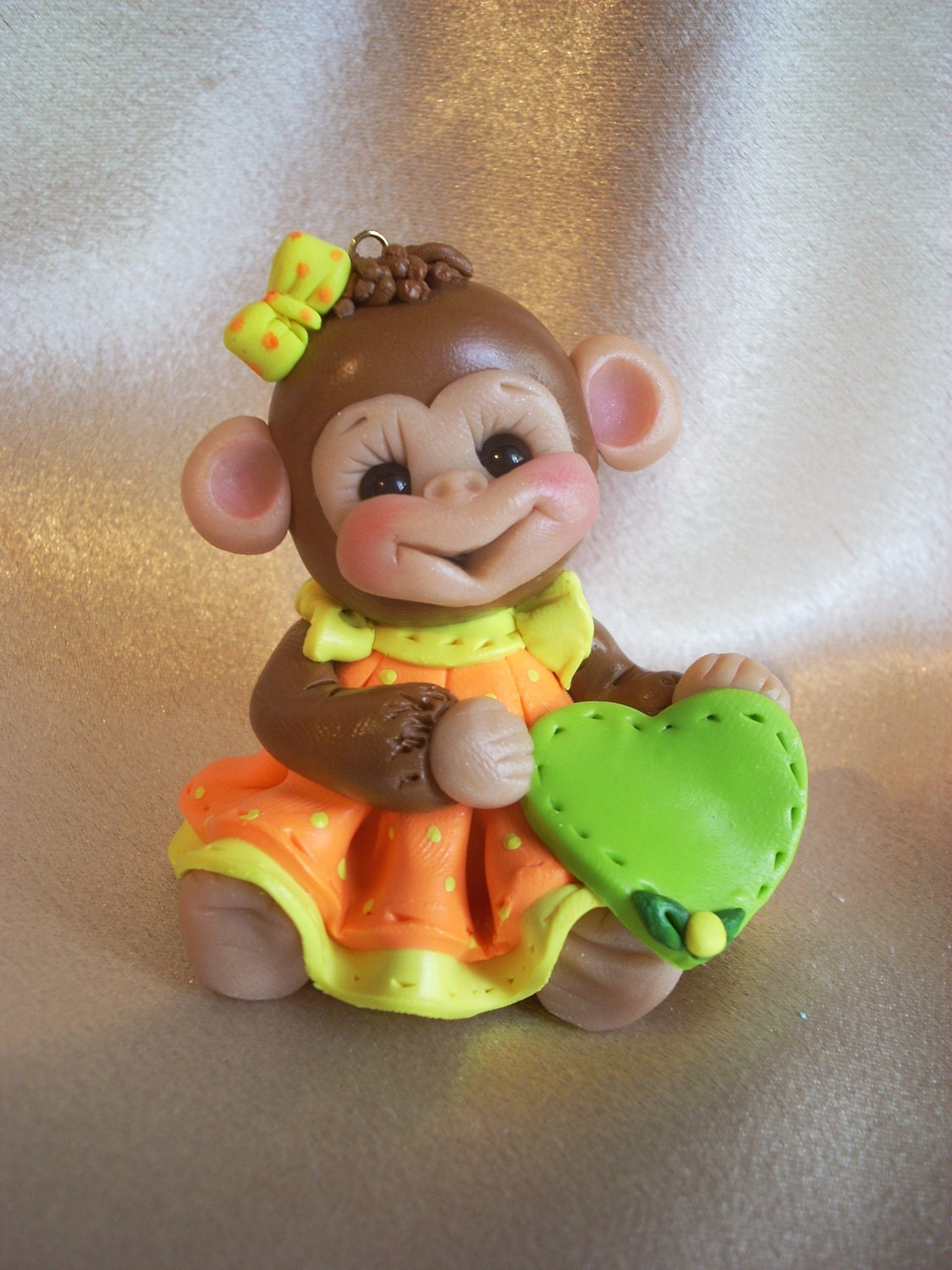 Monkey Birthday Cake Topper Christmas Ornament Polymer Clay