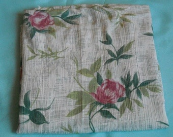 1970s Vintage Fabric, Stretchy Material In Soothing Floral Colors, barely under a yard
