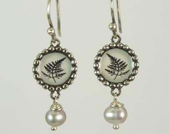 Fern Photo & Pearl Earrings