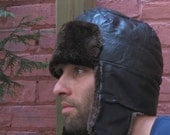 SALE Mens Aviator Bomber Hat 8 (25) Leather Fur Sheared Beaver
