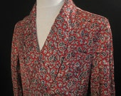 Vintage Paisley Rayon Smoking Jacket Post WWII MS M A British Gown