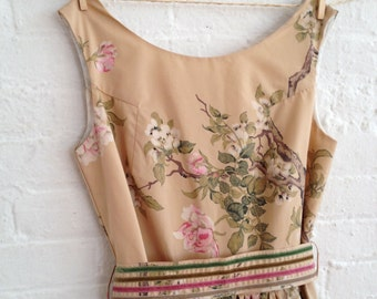 birds and blossom custom tea dress