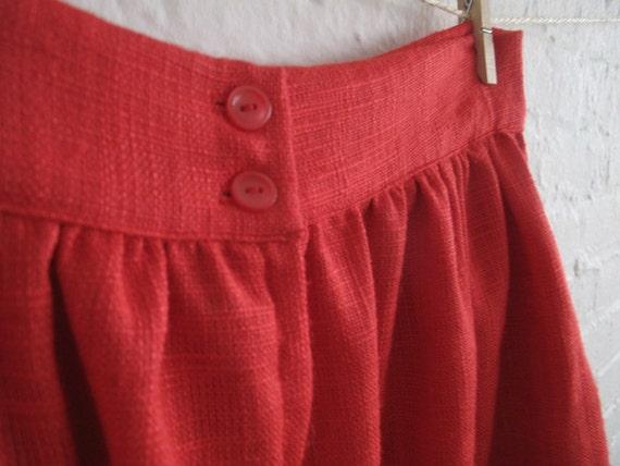 """SALE red linen skirt...waist 28"""""""