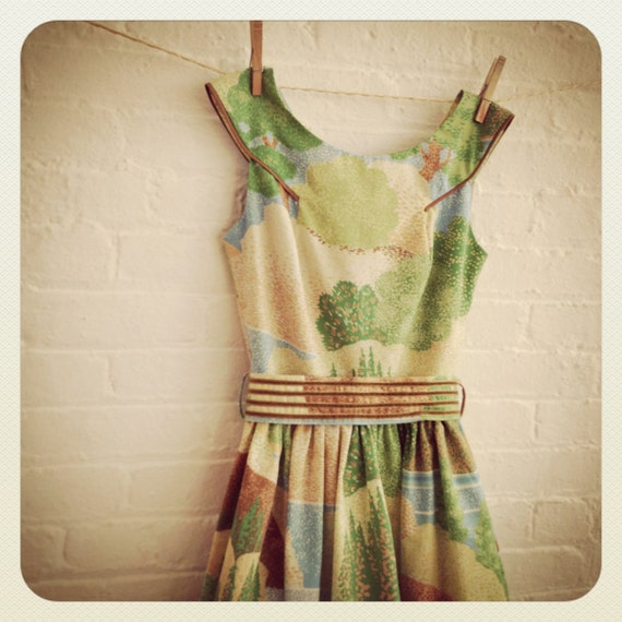 vintage landscape Tea Dress on SALE