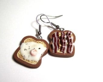 Fried egg and bacon on toast earrings