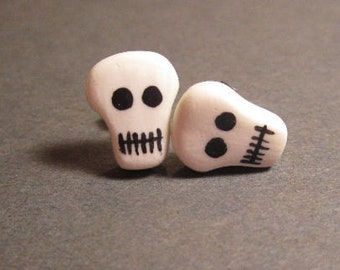 Skull Studs Glow In The Dark Polymer Clay- Surgical Steel Posts