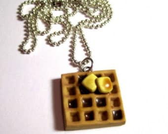 Waffle Necklace With Butter And Syrup
