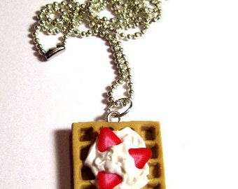 Waffle Necklace With Strawberry And Whip cream
