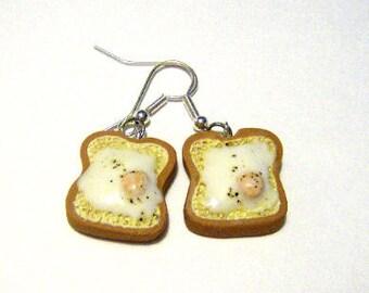 Fried egg on toast earrings