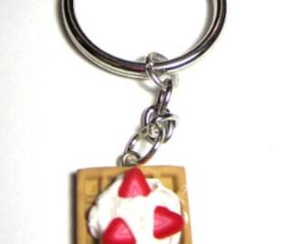 Polymer Clay Strawberry And Cream Waffle Key Chain