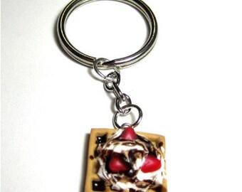 Polymer Clay Strawberry And Chocolate Waffle Key Chain