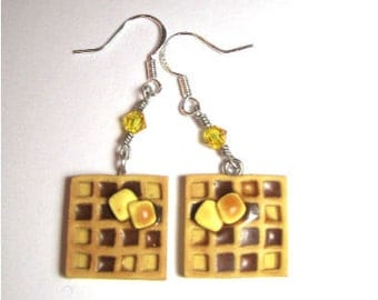 Waffle Earrings With Butter And Syrup