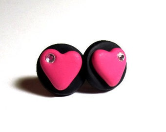 Pink And Black Heart Studs With Crystazzi Crystals With Surgical Steel Post